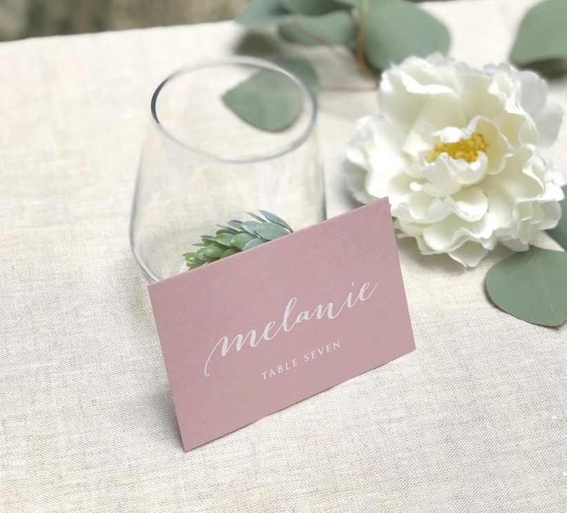pink and white wedding place cards
