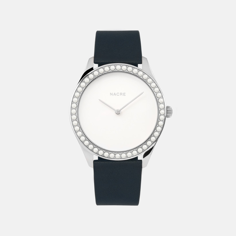 Nacre minimalist women's engagement watch with pearl bezel