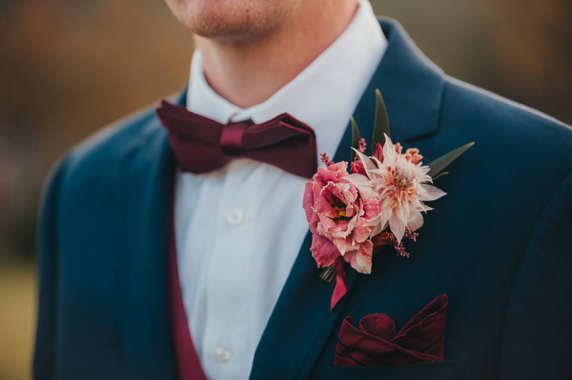 dark pink wedding boutonniere for fall