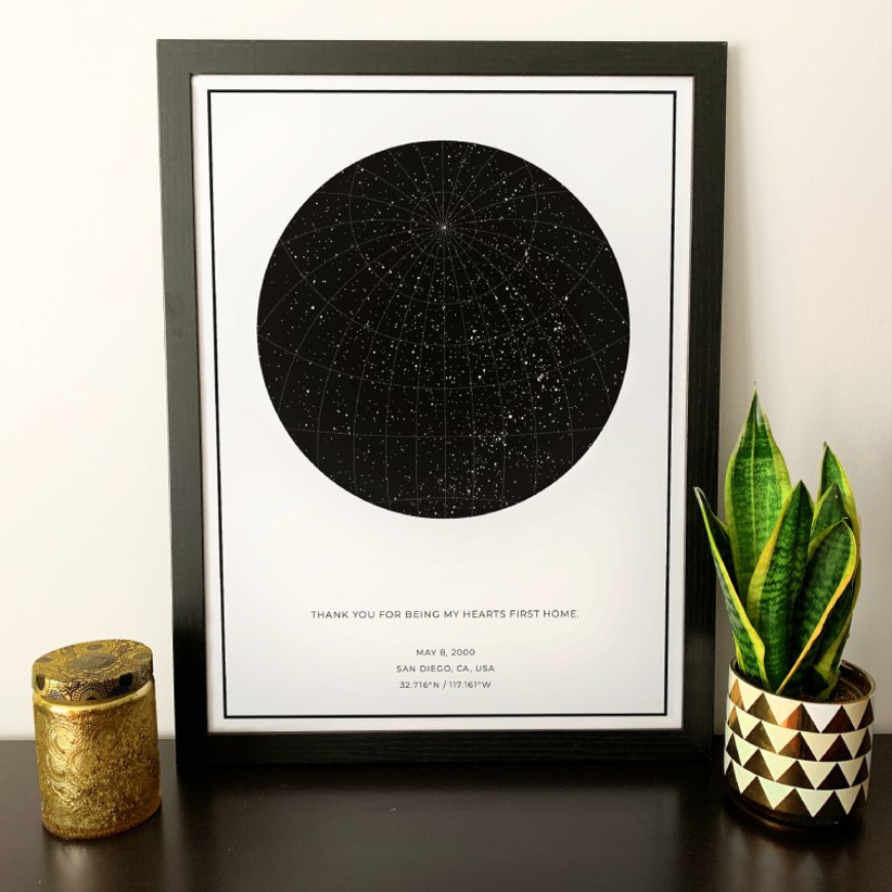 Custom framed map of the stars from an important date