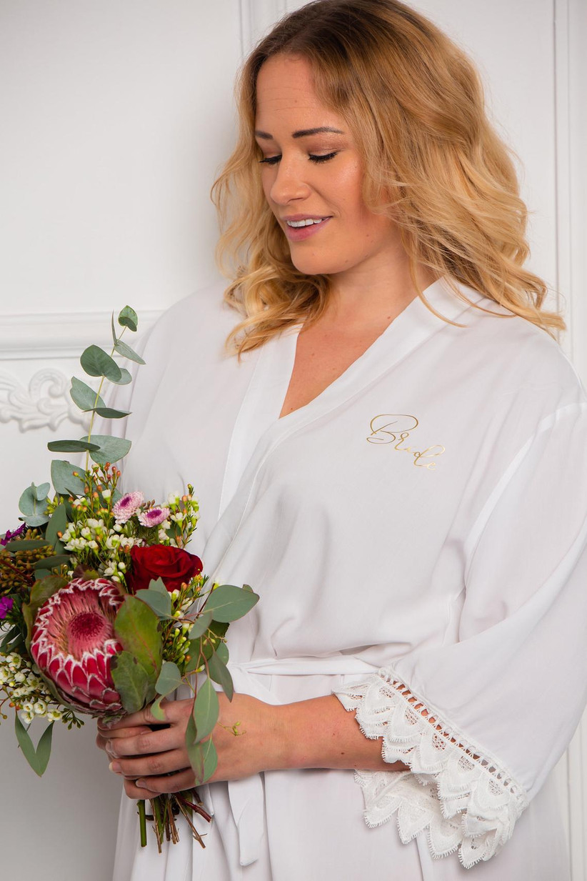 White wedding robe with bride personalization