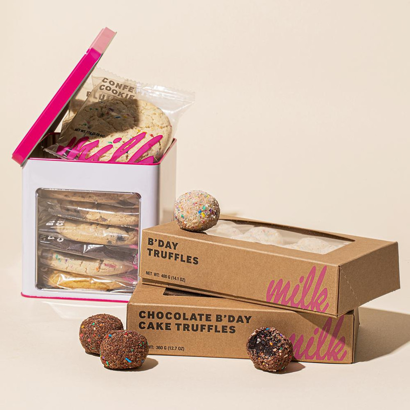 Milk Bar box of cookies and two boxes of truffles food gift for couple
