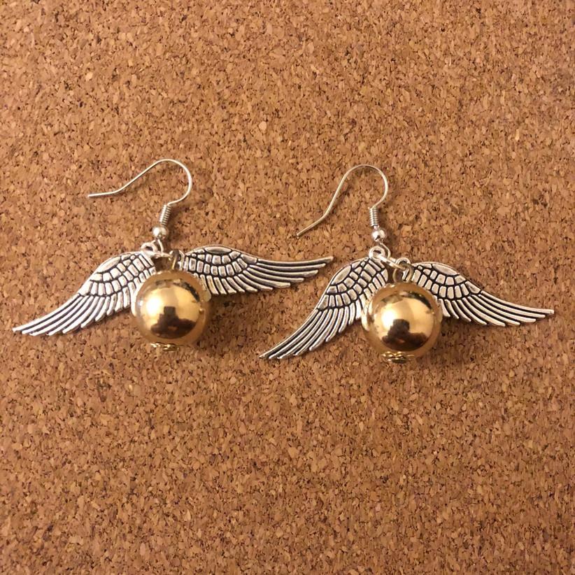 miniature golden snitch earrings