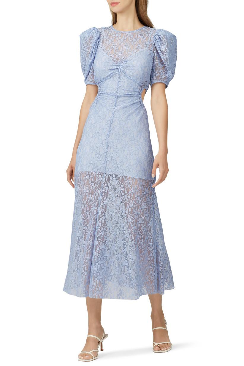 Sheer lace overlay light blue midi