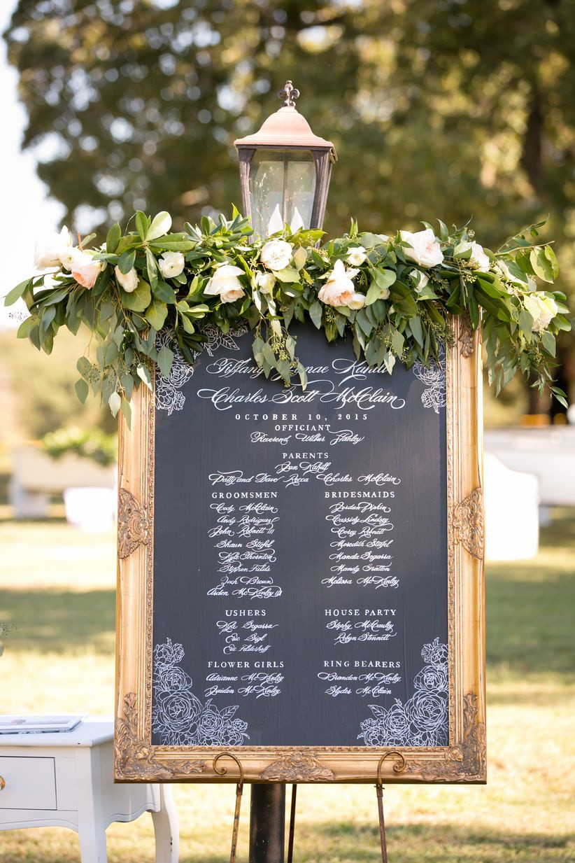 framed chalkboard wedding ceremony sign with white calligraphy and greenery