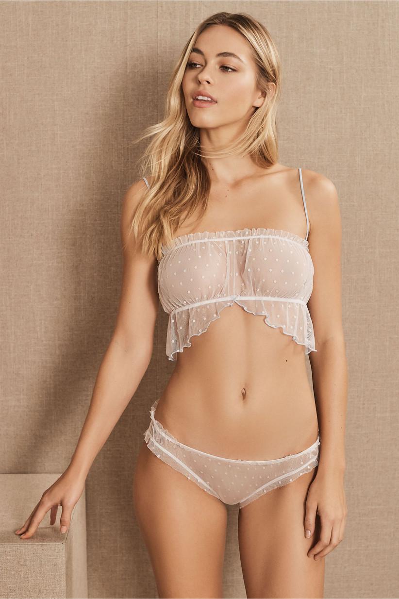 Sheer white polka-dot wedding night lingerie set