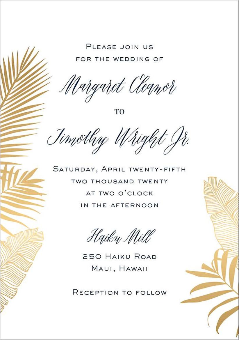 modern tropical summer wedding invitation with metallic gold greenery leaf border