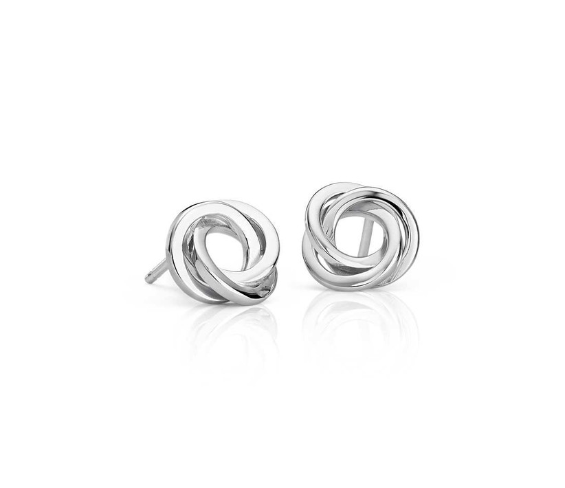 Silver love knot earrings maid of honor gift to bride