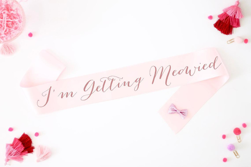 i'm getting meowied cat-themed bachelorette party sash
