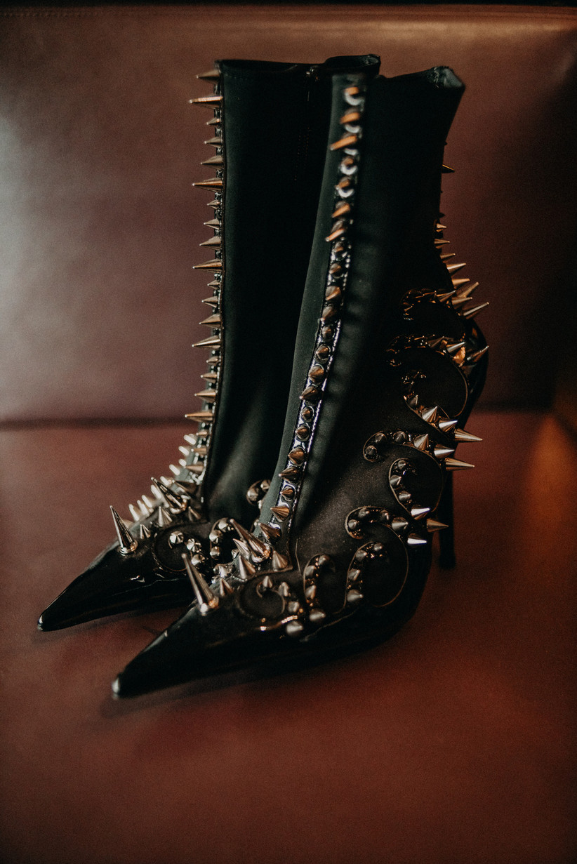 studded black boots with spikes