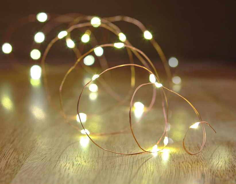 Copper wire string lights outdoor engagement party decoration idea