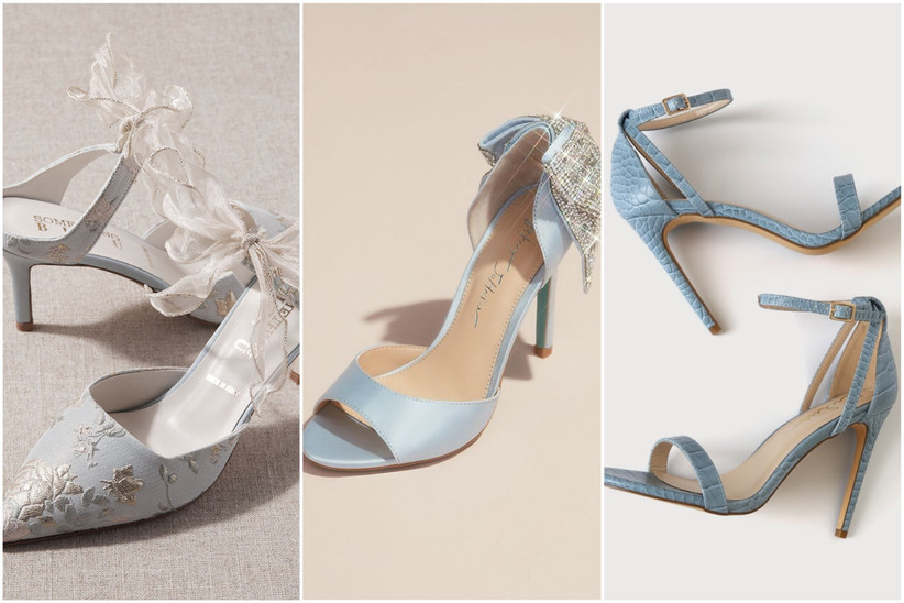collage of blue wedding shoes including embroidered slip-on mule heels, blue open toe heels with silver rhinestone bow and blue stiletto sandals with croc print