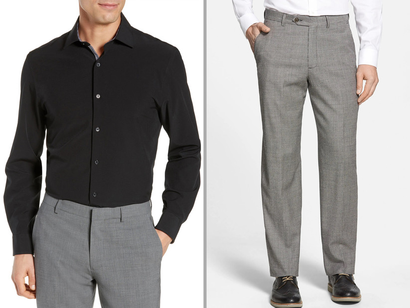 Black and gray rehearsal dinner guest attire
