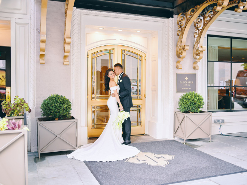 couple outside hotel