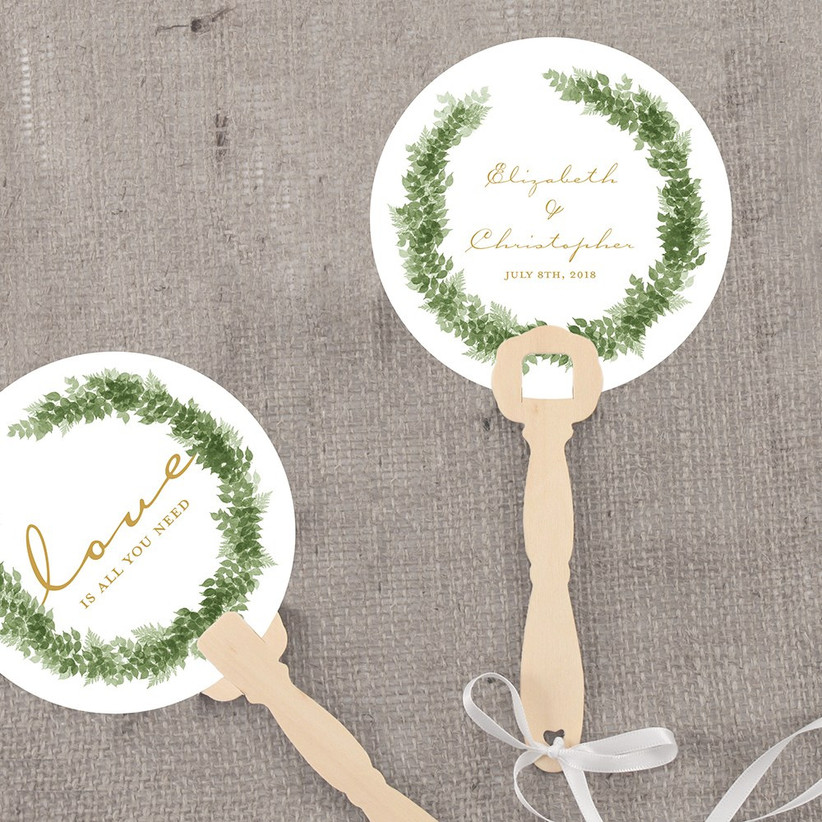 Personalized hand fans destination wedding welcome bag idea