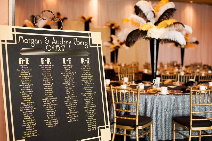 great gatsby wedding theme seating chart sign black background with gold Art Deco lettering