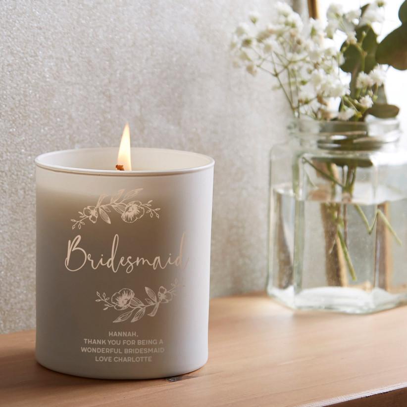 Glow through bridesmaid candle gift
