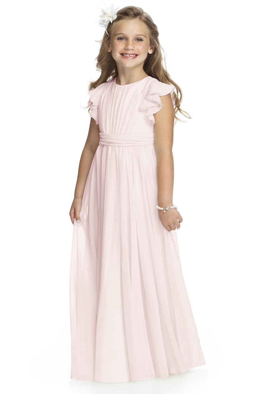 blush chiffon flower girl dress