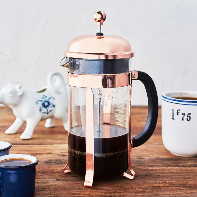 Sleek copper-accent French press housewarming gift for couples