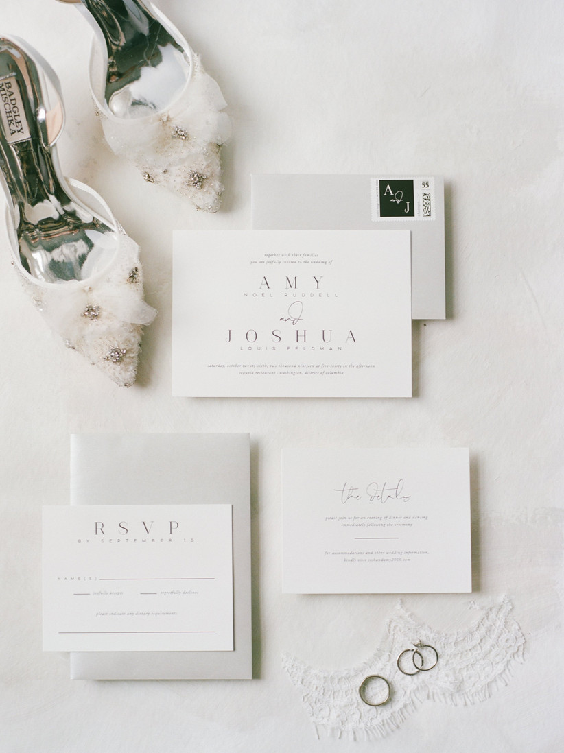 classic wedding invitation and envelope with bride's shoes