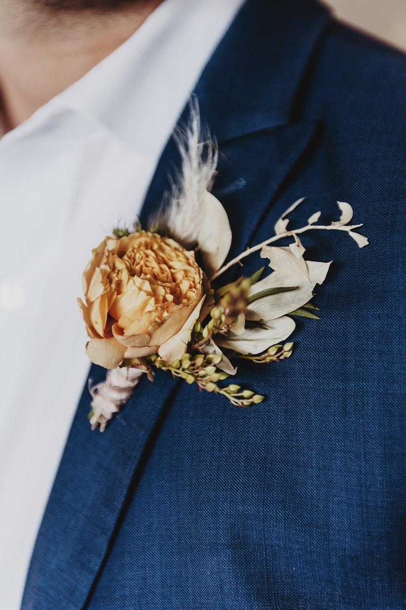 dried flower wedding boutonniere