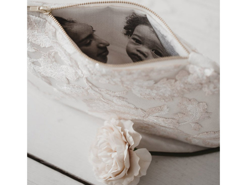 Elegant lacy purse with photo on interior lining mother of the groom gift idea