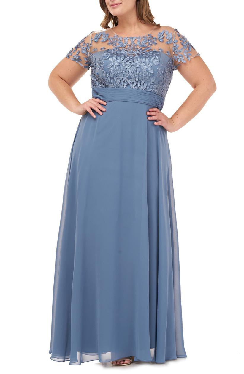 Floor-length pale blue summer wedding guest dress