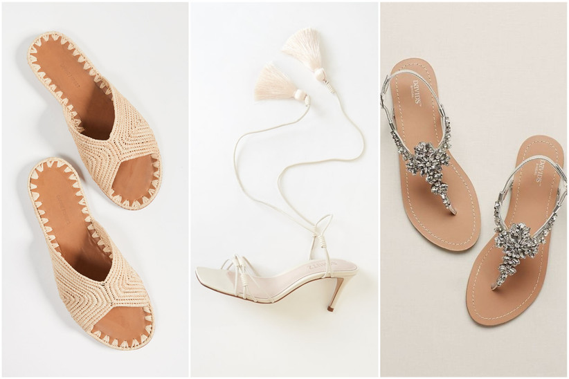 trio of wedding sandals from left to right: raffia slip-on sandals, white high heel lace-up sandal with tassels, flat silver thong beaded sandals