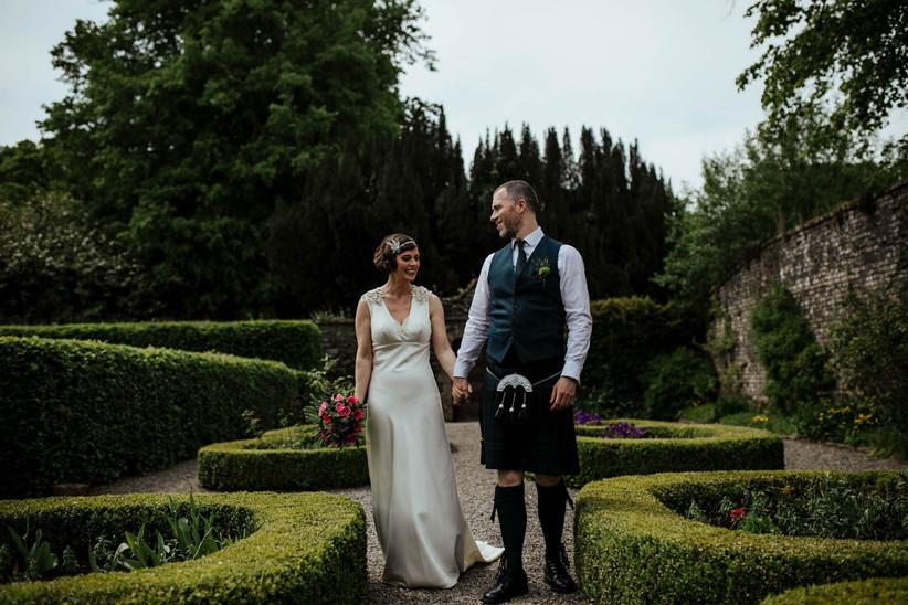 groom wearing kilt