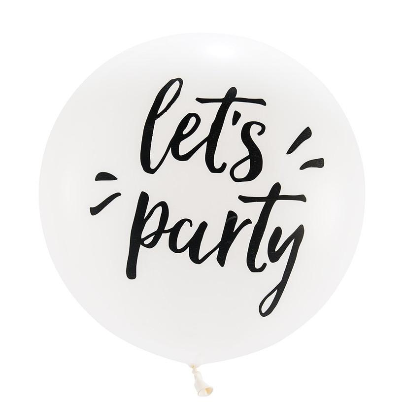 Giant Let's Party balloon engagement party decoration idea