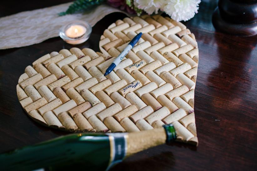 Heart-shaped wine cork unique wedding guest book alternative