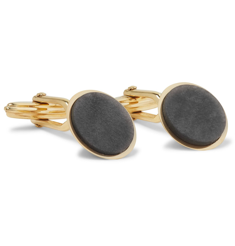 Rounded obsidian cuff links with yellow gold-plated brass setting