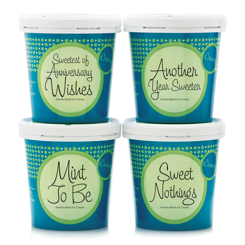 Selection of four ice cream tubs with anniversary-themed labels gift for boyfriend