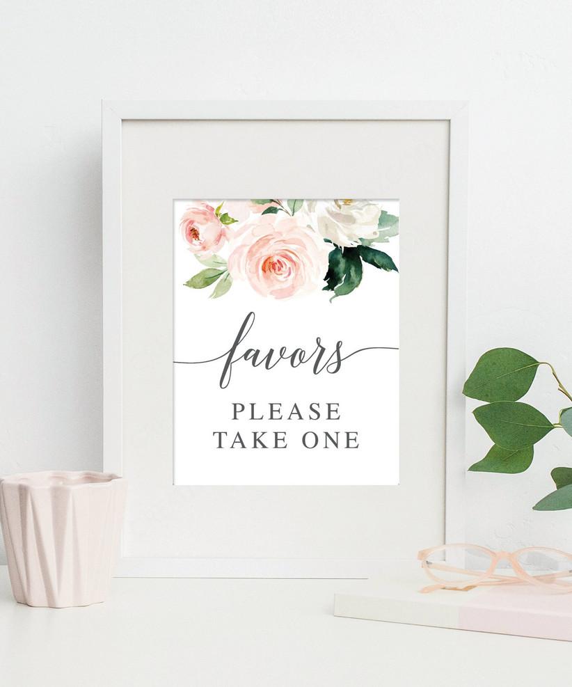 floral favors sign