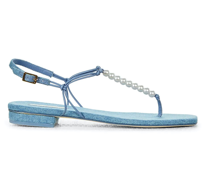 denim blue wedding shoes thong sandals with faux pearl strap and gold buckle