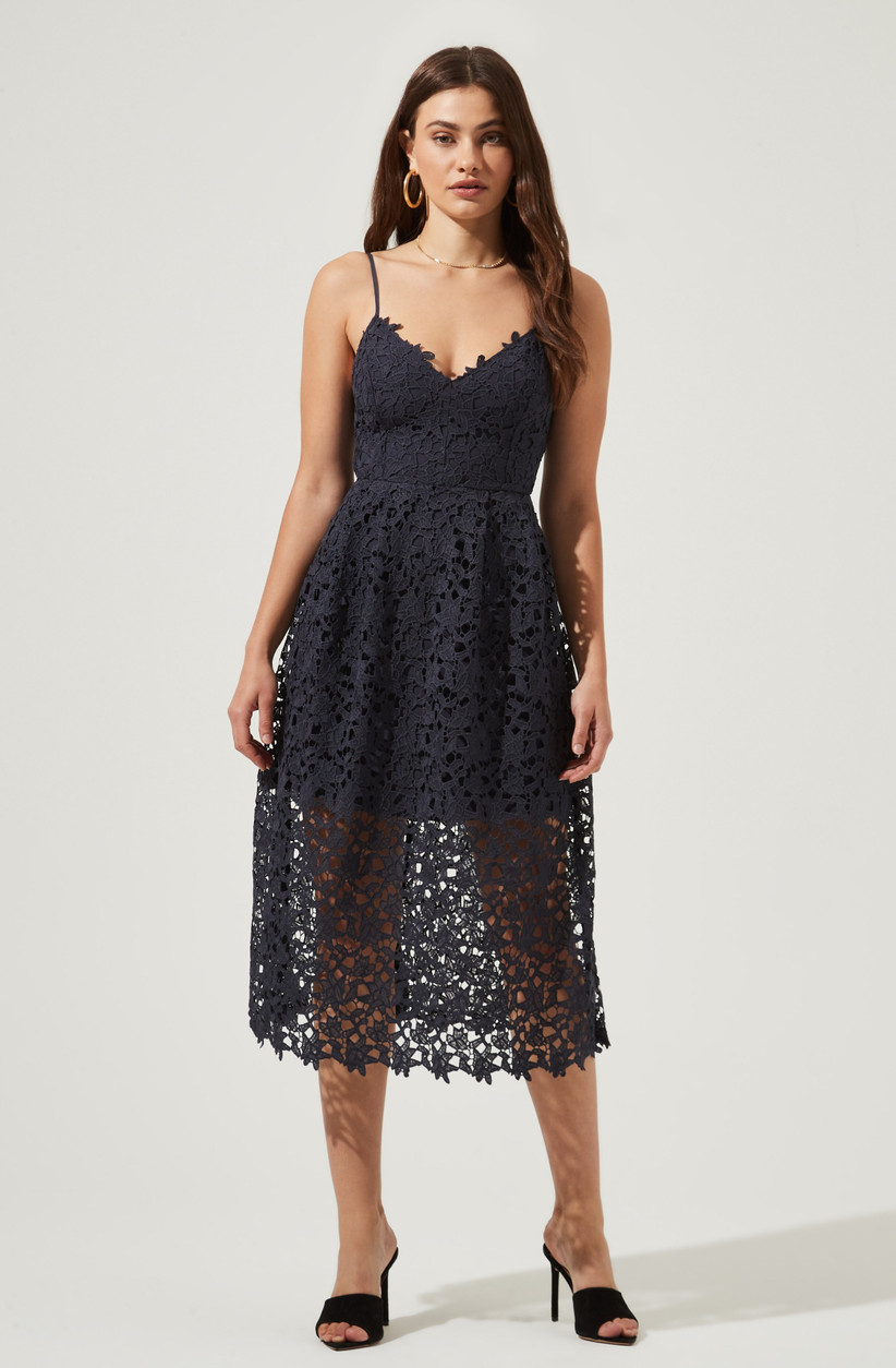 Navy lacy overlay cocktail fall wedding dress for guest