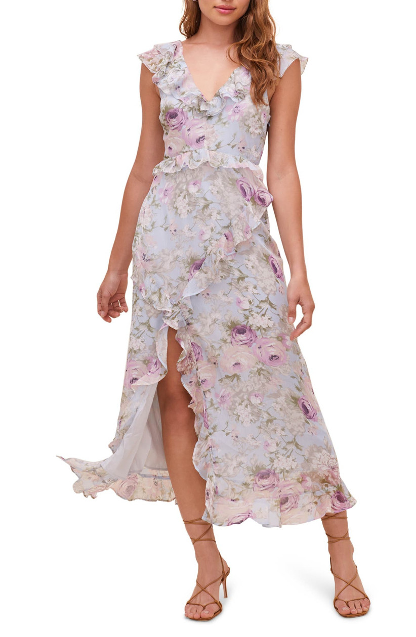 midi length engagement party dress with allover floral print in pale purple and green rose pattern