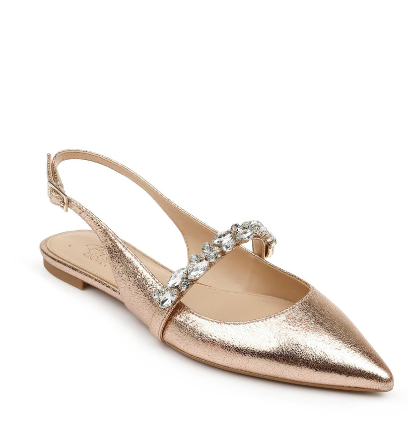 rose gold flat with slingback strap and pointed toe