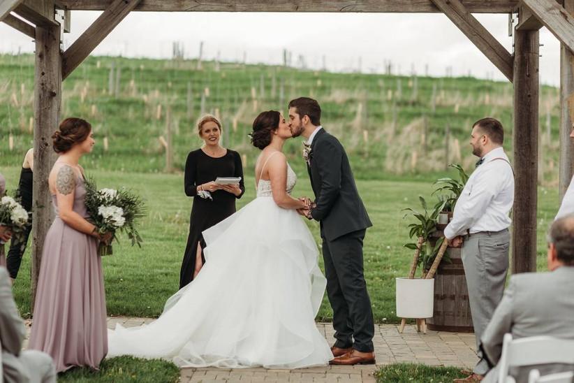 couple outdoor wedding ceremony