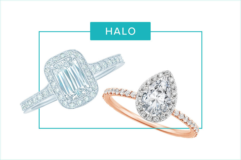 emerald halo and marquise halo engagement rings