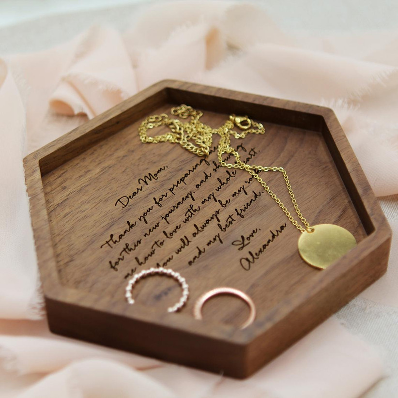Engraved hexagonal wooden tray with jewelry inside mother of the bride gift idea