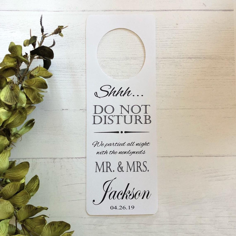 Custom do not disturb sign for hotel wedding welcome bags