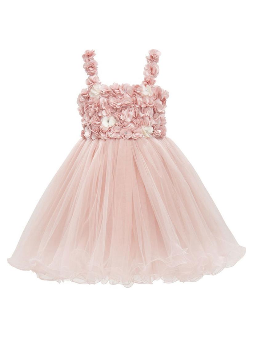 petal bodice tulle skirt pink flower girl dress