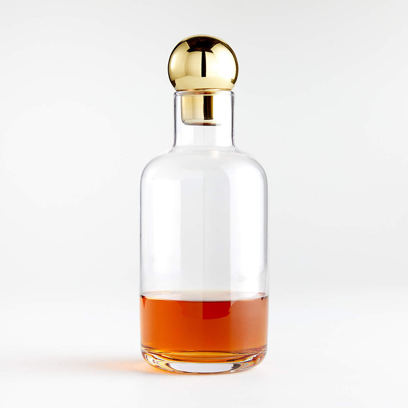 glass decanter with gold top