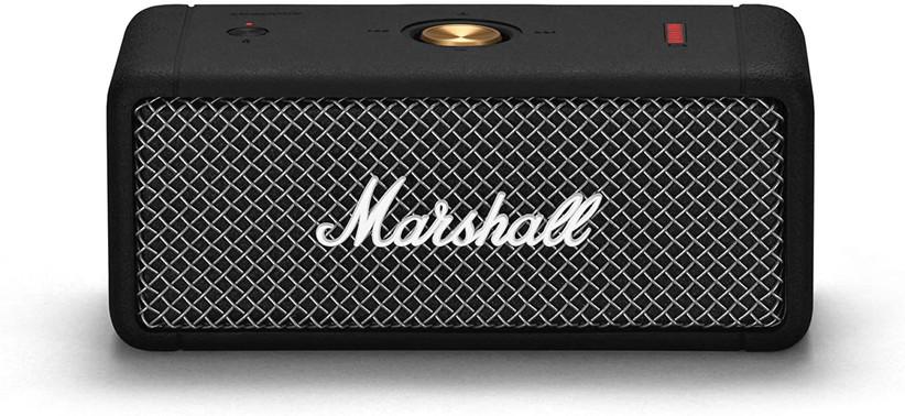 black marshall portable speaker