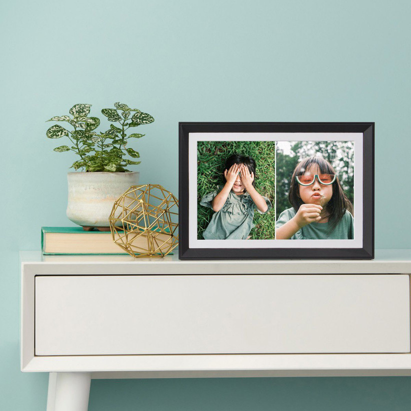 Aura digital photo frame showing side by side photo collage