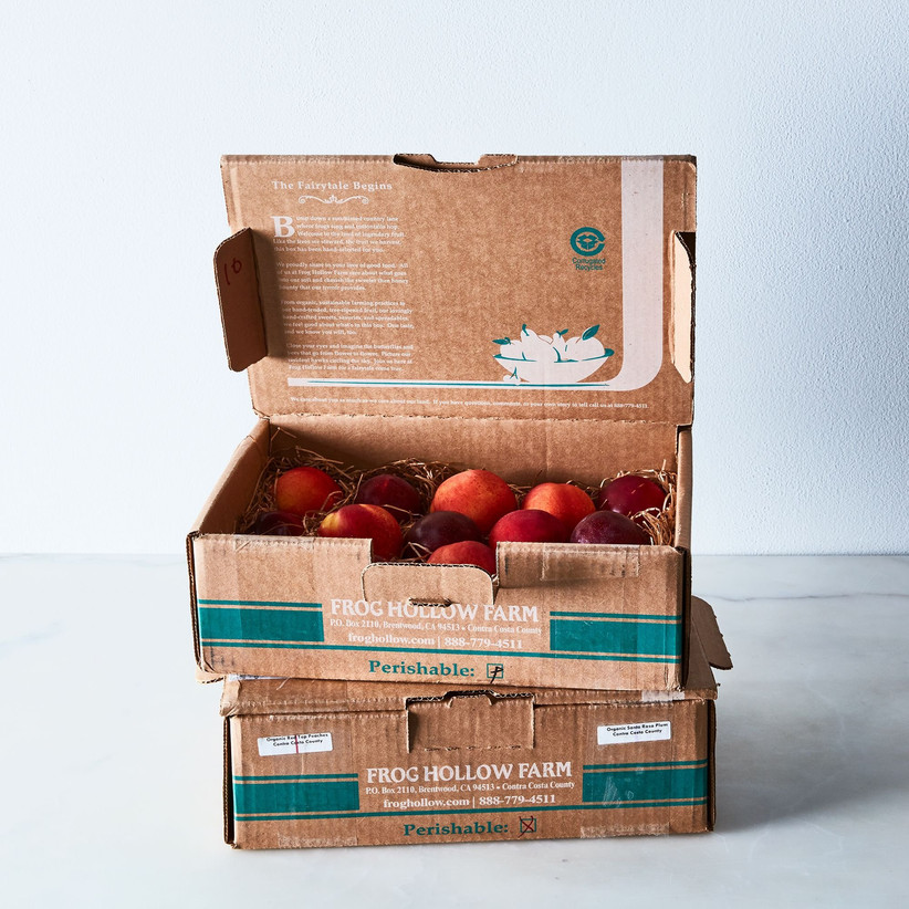 Two boxes of Frog Hollow Farm fruit food gift idea for couples