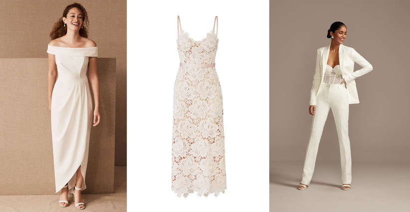 modern courthouse wedding short wedding dresses