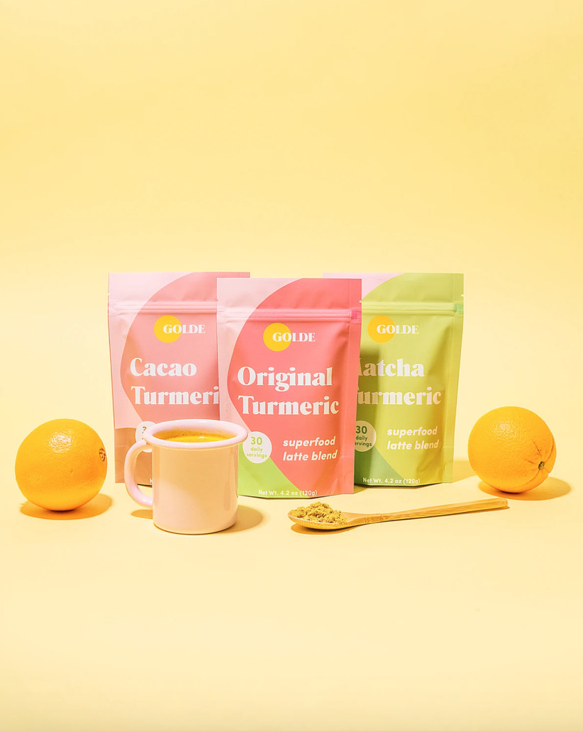 Latte kit with three different flavors in bright packaging