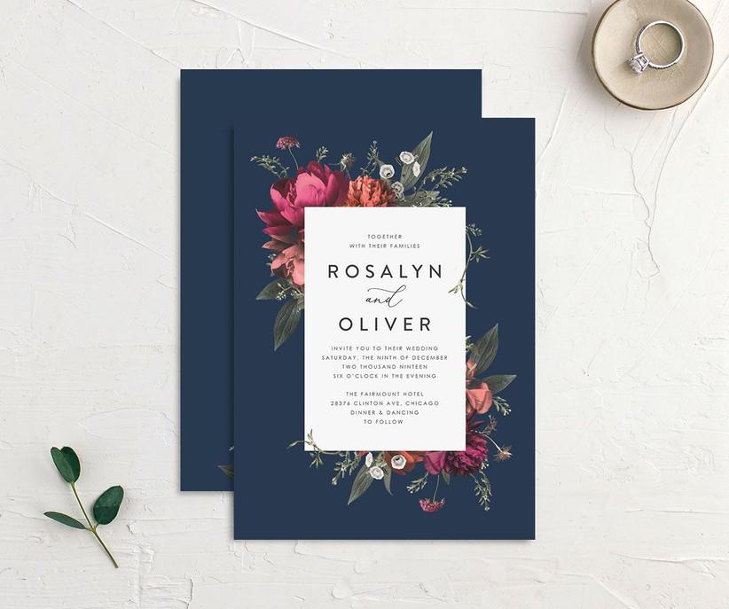 Navy floral affordable wedding invitation
